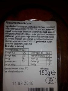 Ingredienten filet americain